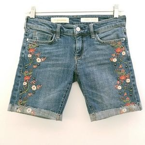 Anthro Pilcro Blue Floral Embroidered Cutoff Short